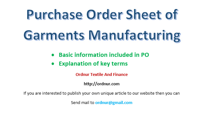 purchase order sheet of garments manufacturing