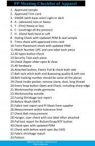 PP Meeting Checklist in Garments