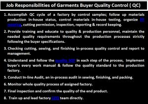 Job Responsibilities of Garments Buyer QC - ORDNUR TEXTILE