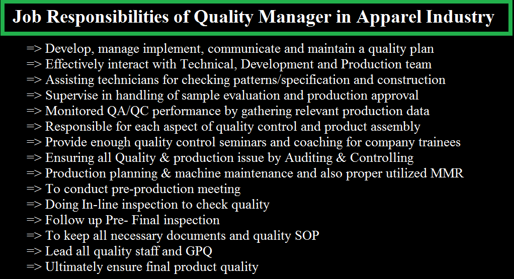 job responsibilities of quality manager in apparel