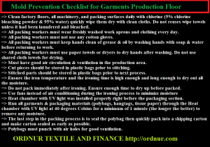 Mold Prevention Checklist for Garments Production Floor