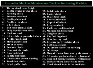 Preventive Machine Maintenance Checklist for Sewing Machine