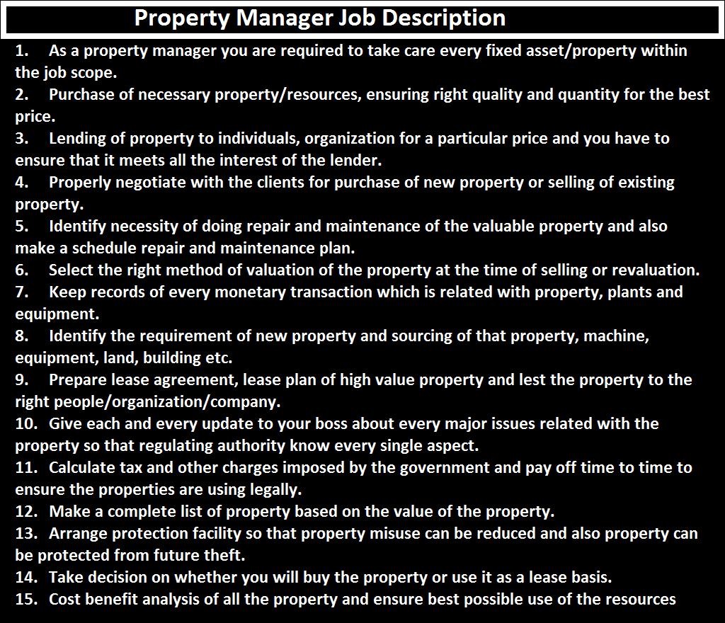 Property Manager Job Description - ORDNUR TEXTILE AND FINANCE