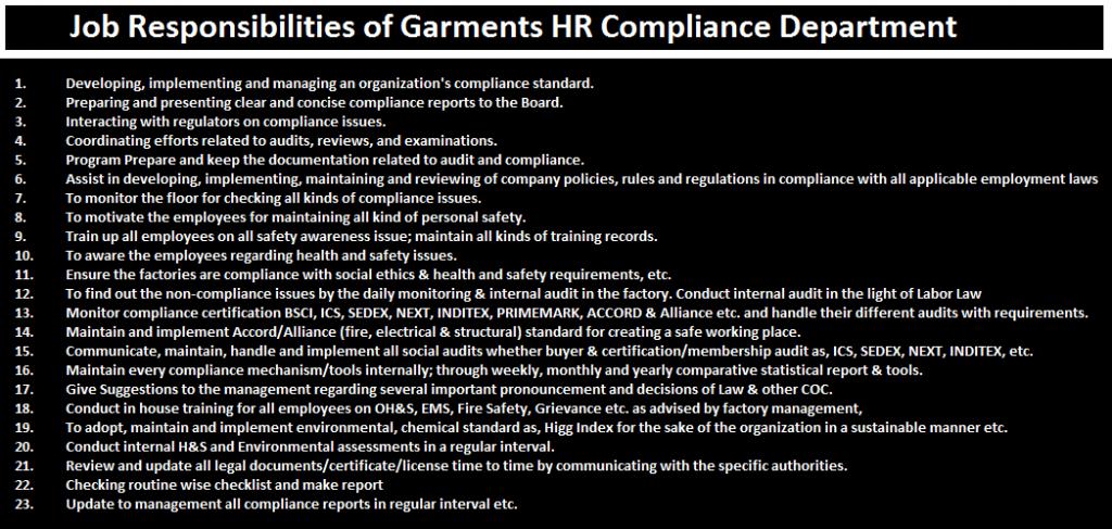 Job responsibilities of garments hr compliance department - Assistant compliance officer ...