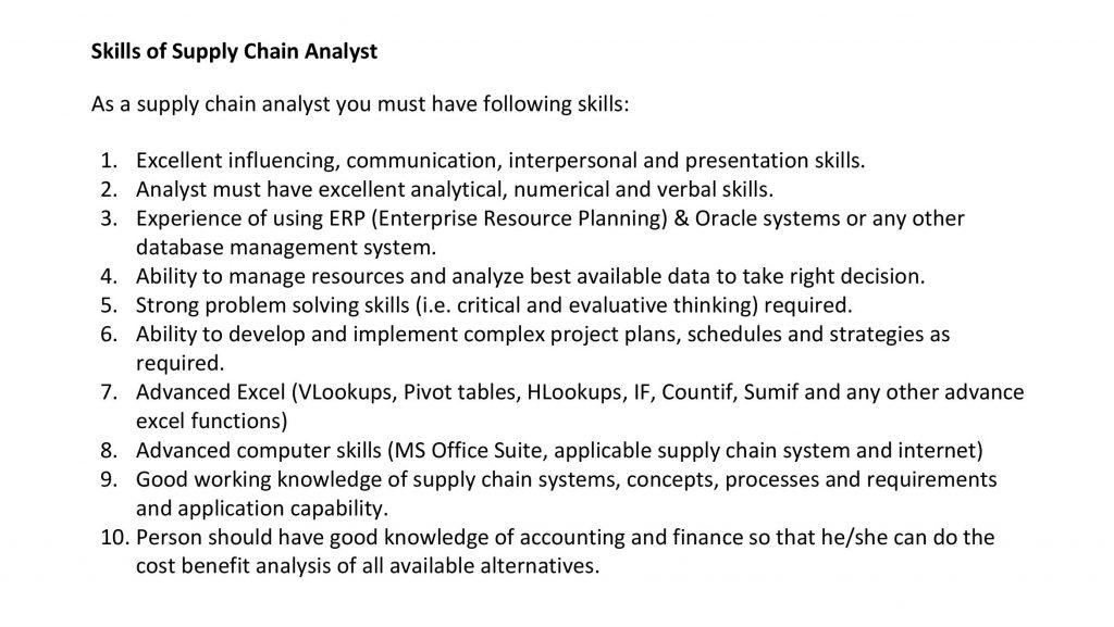 Supply Chain Analyst Skills