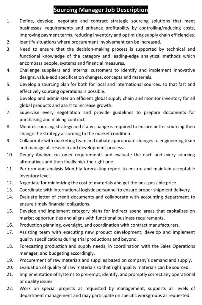 Sourcing Manager Job Description