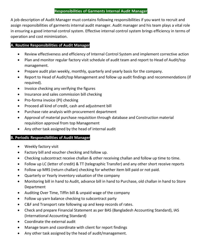 Responsibilities of Garments Internal Audit Manager